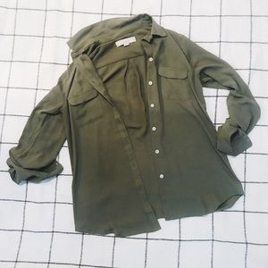 Army Green Loft Button Down Dress Shirt
